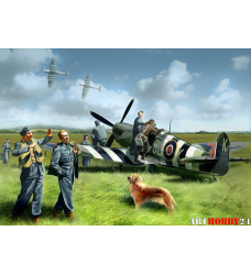 48801 Spitfire Mk.IX с летчиками RAF и наземным персоналом