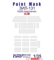KAV M35 020 Окрасочная маска на остекление ЗиЛ-131 (ICM 35517, 35518)