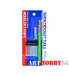 Цанговый нож с 25 доп.лезв. с зелен.ручками